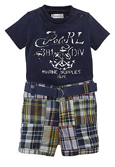 Ralph Lauren Childrenswear Graphic Tee and Plaid Short Set