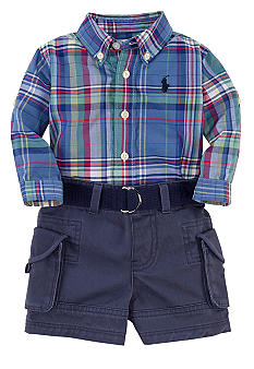 Ralph Lauren Childrenswear Plaid Oxford and Cargo Short Set