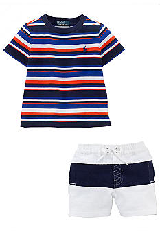 Ralph Lauren Childrenswear Striped Tee and Short Set