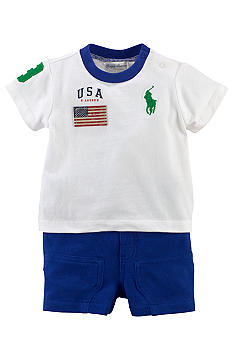 Ralph Lauren Childrenswear USA Patch Tee and Short Set