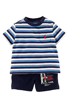 Ralph Lauren Childrenswear Striped Tee and Mesh Short Set