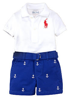 Ralph Lauren Childrenswear Embroidered Anchor Short Set