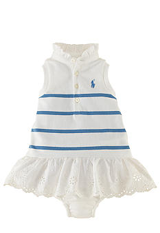 Ralph Lauren Childrenswear Eyelet Embroidered Striped Dress
