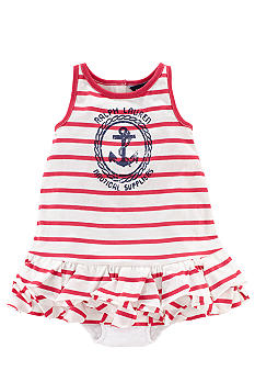 Ralph Lauren Childrenswear Distressed Anchor Stripe Dress