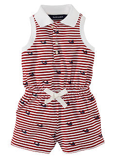 Ralph Lauren Childrenswear Marine Embroidered Striped Romper