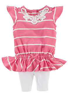 Ralph Lauren Childrenswear Lace Panel Striped Top and Legging Set