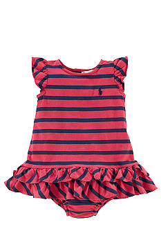 Ralph Lauren Childrenswear Flutter Sleeve Striped Dress