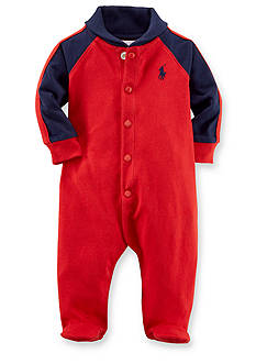 Ralph Lauren Childrenswear Shawl Collar Sporty Striped Coveralls