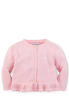 Ralph Lauren Childrenswear Pointelle Peplum Cardigan