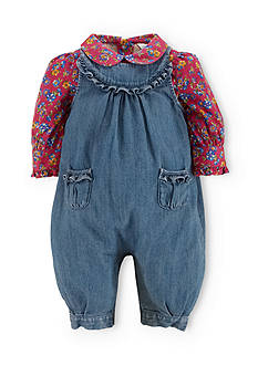 Ralph Lauren Childrenswear Floral Blouse & Denim Coveralls