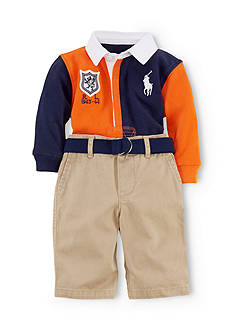 Ralph Lauren Childrenswear Sporty Two Toned Rugby Shirt Set