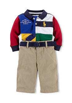 Ralph Lauren Childrenswear Color Blocked Quadrant Polo & Chino Pants