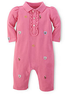 Ralph Lauren Childrenswear Floral Schiffli Embroidered Coverall