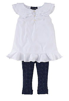 Ralph Lauren Childrenswear Ruffle Tunic and Polka-Dot Legging Set