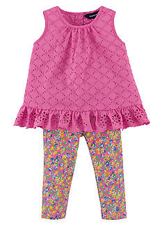 Ralph Lauren Childrenswear Eyelet Tank and  Floral Leggings Set