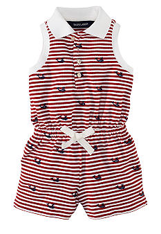Ralph Lauren Childrenswear Striped Schiffli Embroidered Romper