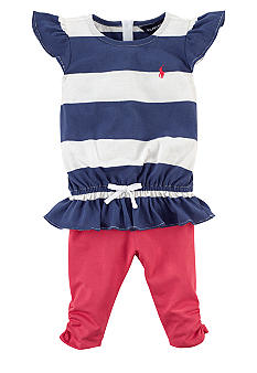 Ralph Lauren Childrenswear Flutter Sleeve Stripe Top and Legging Set