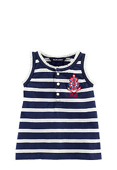 Ralph Lauren Childrenswear Nautical Striped Ruffle Tank
