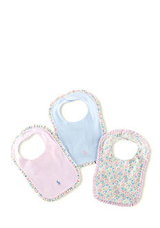 Ralph Lauren Childrenswear 3-Piece Printed Bib Set