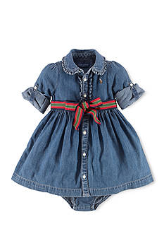 Ralph Lauren Childrenswear Ruffle Hem Denim Shirtdress & Bloomers