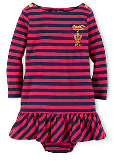 Ralph Lauren Childrenswear Striped Dress With Embroidered Crown & Bloomers