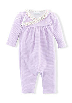 Ralph Lauren Childrenswear Stripe Ruffle-and-Bow Coverall