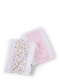 Ralph Lauren Childrenswear 2-Piece Flowers-and-Stripes Burp Cloth Set
