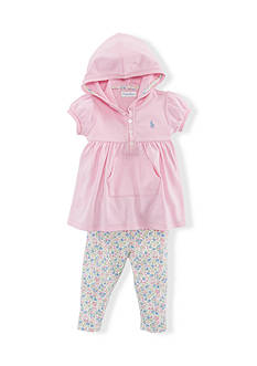 Ralph Lauren Childrenswear 2-Piece Hoodie and Floral Legging Set
