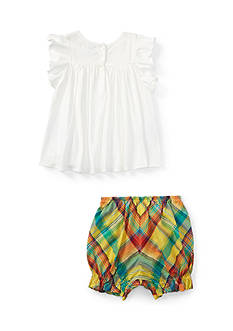 Ralph Lauren Childrenswear 2-Piece Boho Top and Plaid Short Set