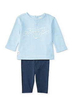 Ralph Lauren Childrenswear French Terry Shirt 2-Piece Set Baby/Infant Girl