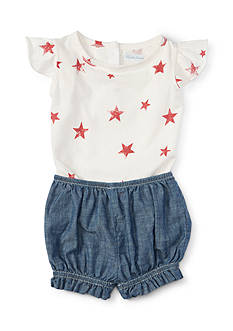 Ralph Lauren Childrenswear 2-Piece Stars Top and Chambray Short Set - Baby/Infant Girl