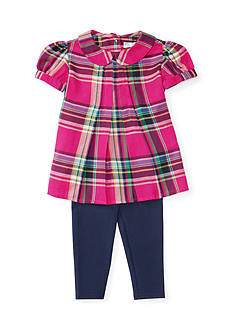 Ralph Lauren Childrenswear Featherweight Twill Plaid Top and Legging Set Infant/Baby Girl