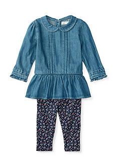 Ralph Lauren Childrenswear 2-Piece Quincy Peplum Top and Floral Leggings Baby/Infant Girl