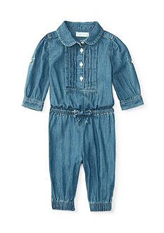 Ralph Lauren Childrenswear Quincy Wash Denim Coveralls Baby/Infant Girl