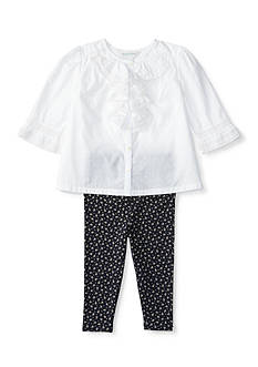Ralph Lauren Childrenswear 2-Piece Ruffle Top and Floral Leggings Set Baby/Infant Girl