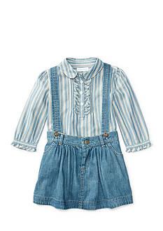 Ralph Lauren Childrenswear 2-Piece Striped Shirt and Denim Jumper Set Baby/Infant Girl