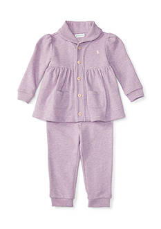 Ralph Lauren Childrenswear 2-Piece Shawl Top and Jogger Pants Set Baby/Infant Girl
