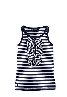 Ralph Lauren Childrenswear Ruffle Front Striped Tank Toddler Girls