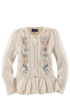 Ralph Lauren Childrenswear Floral Embroidered Cardigan Toddler Girls