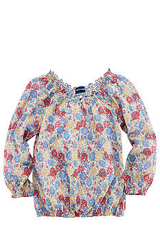 Ralph Lauren Childrenswear Smocked Boatneck Top Toddler Girls
