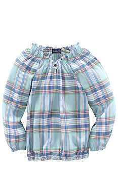Ralph Lauren Childrenswear Smoked Plaid Boatneck Top Toddler Girls