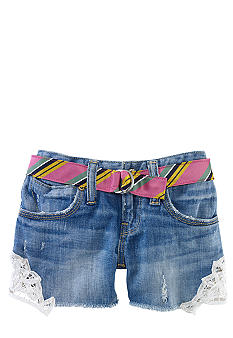 Ralph Lauren Childrenswear Lace Applique Denim Short Toddler Girls