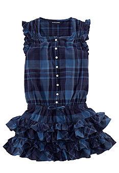 Ralph Lauren Childrenswear Madras Ruffle Drop-Waist Dress Toddler Girls