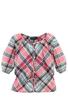 Ralph Lauren Childrenswear Bow Detail Madras Top Toddler Girls