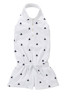 Ralph Lauren Childrenswear Nautical Embroidered Mesh Romper Toddler Girls