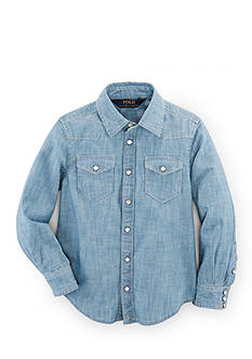 Ralph Lauren Childrenswear Button Front Chambray Shirt Toddler Girls