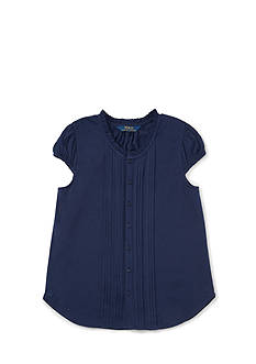 Ralph Lauren Childrenswear Jersey Pintuck Shirt - Toddler Girl
