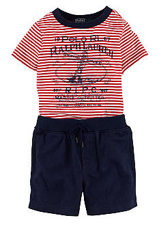 Ralph Lauren Childrenswear Graphic Striped Tee and Short Set