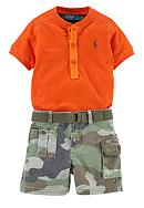 Ralph Lauren Childrenswear Camo Shirt and Cargo Short Set