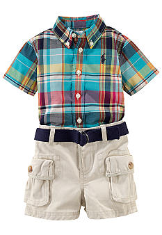 Ralph Lauren Childrenswear Plaid Shirt and Cargo Short Set